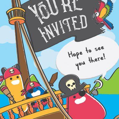 FREE party invite - Pirates | Atom & the Dot